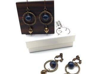 藍染木玉ピアス&イヤリング 輪の画像