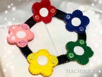 【送料込】ボタンの練習☆5色の花☆知育☆手作りおもちゃの画像