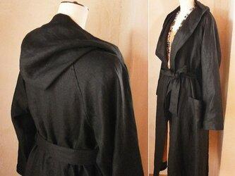 リネンフードドレープローブ ロングコート リボンベルト付き ブラック ハロウィンにも♪の画像
