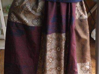 大島、結城紬正絹からリメイクパッチスカートの画像
