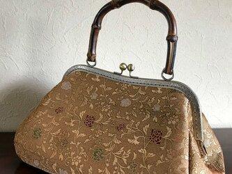 金地花唐草の袋帯の 竹の手がま口手提げの画像