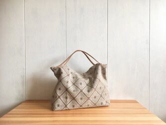 【受注製作】ヌメ革持ち手 ジャカード織生地の鞄 ベージュの画像