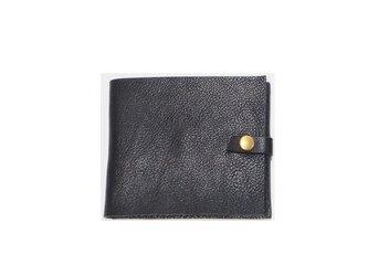 マネークリップ 本革手作り 札・カード入れ ブラック  プレゼントに♪【受注生産】の画像
