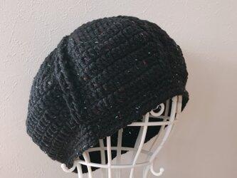 Sold out!  黒ツイードのまぁるいニット帽の画像
