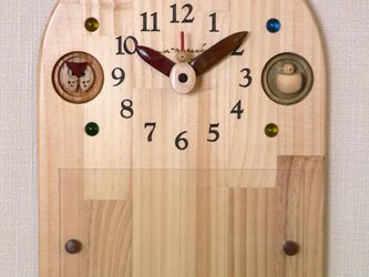 木の時計&額(2Lサイズが飾れます)  *送料無料(現品のみ)の画像