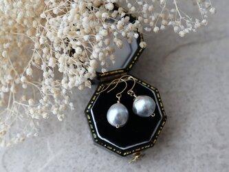 【K18】アコヤ真珠シルバーの一粒ピアスの画像