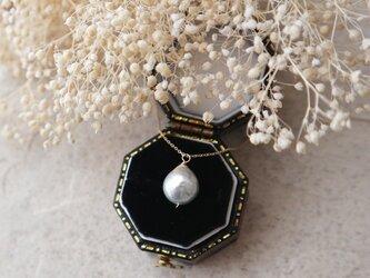【K10】アコヤ真珠シルバーの一粒ネックレスの画像