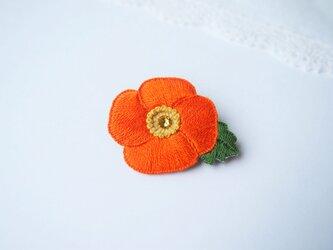 [受注制作]ポピーの刺繍ブローチ(orange)の画像