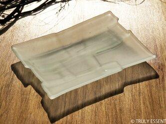 透明ガラスのお皿 -「かくいガラス 」● 19x14cm・つや消しの画像