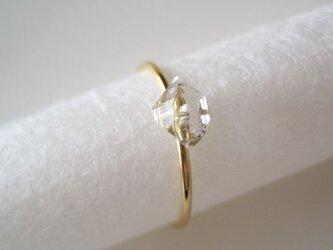 ダイヤモンドクォーツの原石リング/Pakistan/Diamond Quartz 14kgf 11号の画像