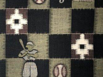 cya0004 野球文様茶絣ハギレ 38cm/子供着物☆古布・古裂/絞り/型染/筒書き/織の画像