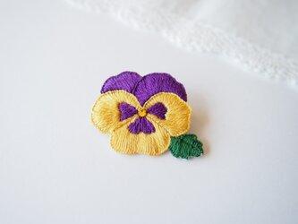 [受注制作]  パンジーの刺繍ブローチ(黄色×紫)の画像