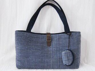 ☆セール☆ 飾りベルトの裂き織り横長バッグ ミニポーチ付き(青)の画像