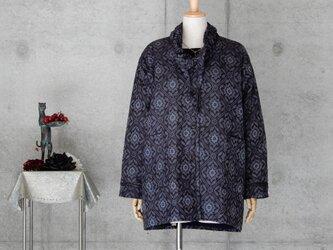 着物リメイク 大島紬のコート キルティング裏地付きの画像