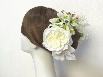 成人式、和装婚に♡薔薇とデンファレと胡蝶蘭のヘッドドレス (13点セット)の画像