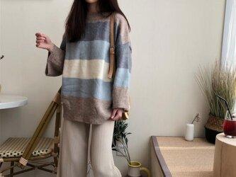 コート トップス セーター ニットトップス タートルニット 着痩せ おしゃれ 新作 花柄 手編み レディースの画像