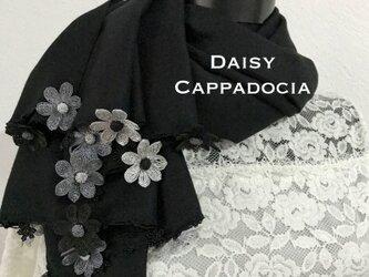 刺繍のお花つき パシュミナストール「デイジー」 ブラックの画像
