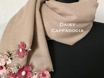 刺繍のお花つき パシュミナストール「デイジー」 ココア&ボルドーの画像