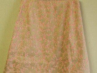【セール品】お花柄模様生地 裏地付きひざ丈Aラインスカート Mサイズ ピンク系色生地×ベージュ色お花柄の画像