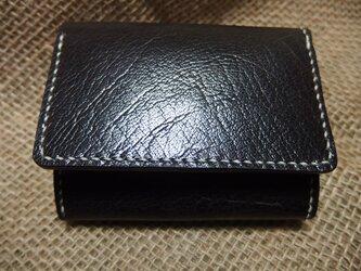 *販売終了* みつおり屋さん 三つ折り財布(小銭入れあり) 表革:バッファロー(黒)の画像
