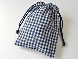 シンプル ギンガムチェック バンダナ柄・巾着袋 ネイビー 紺【 Simple 】の画像