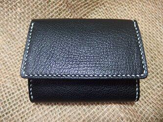 *販売終了* みつおり屋さん 三つ折り財布(小銭入れあり) 表革:山羊革(黒)の画像