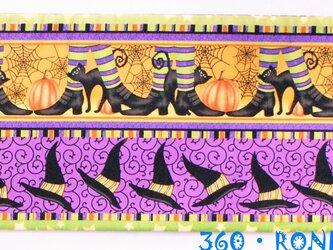 ハロウィン帯「魔法の黒ネコ」★海外コットン4mリバーシブルの画像