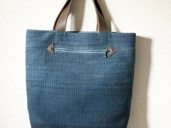 裂き織り 微グラデーションなバッグ(青系)本革持ち手の画像