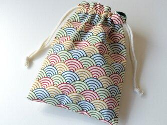 五色の青海波・巾着袋【 Simple 】の画像