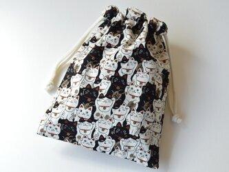 招き猫 ネコ・巾着袋【 Simple 】の画像