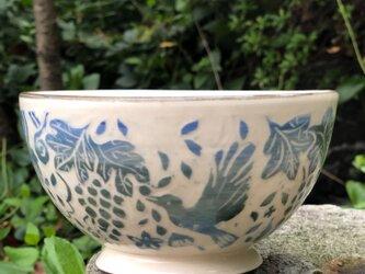 Kakiotoshi bowl - 葡萄とヒヨドリの画像