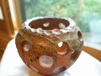 自然釉(しぜんゆう)アロマポット 伊賀  陶器・ランタン・キャンドルスタンド 1点ものの画像