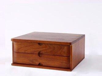 受注生産 職人手作り 天然木 木目 木製 引き出し型 A4 収納ボックス 無垢材 クルミ デスク収納 収納 家具 木工の画像