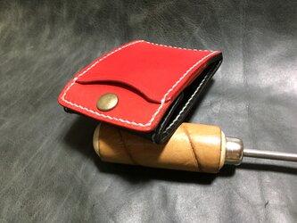 カードとコインの財布Ⅱ CC-06-2 コインケース ヌメ革 RED & BLACK 白糸 レザー小銭入れの画像