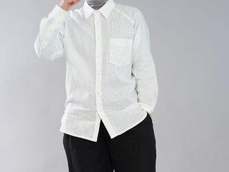 【wafu】薄手 雅亜麻 リネン 本格 プレミアム メンズ シャツ ラグランスリーブ 長袖 / 白色 t035a-wht1の画像