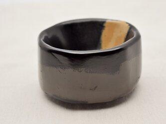 手彫茶椀 黒漆灰色漆白漆の画像