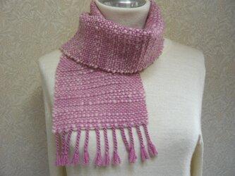 草木染毛糸の手織りマフラー M-075の画像
