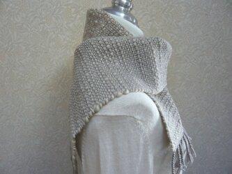 草木染毛糸の手織りマフラー M-083の画像
