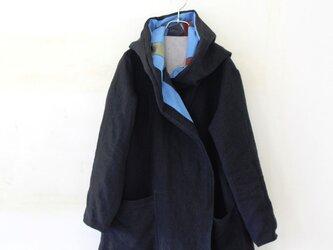 """【秋冬NEW】""""BLACK LINEN"""" 厚手ベルギーリネンの男女兼用フーテッドコート H75の画像"""