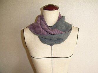 手織カシミヤ混二重織マフラーの画像