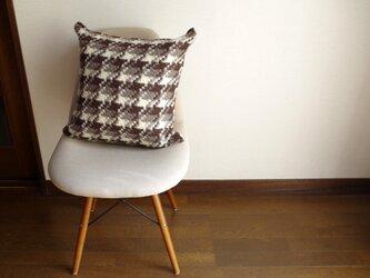 手織りクッションカバー 秋冬チェックの画像