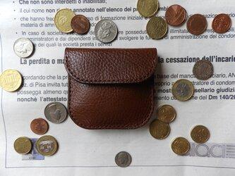 イタリア革のコインケース/小銭入れ/チョコレートの画像