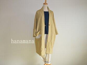 受注製作 ラミーリネン マスタードカラー さっと羽織れるガウンコート はなまなの画像