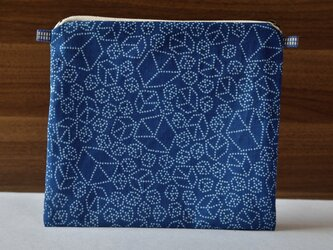藍染×型染ポーチ(キューブ)ショルダー用紐付きの画像