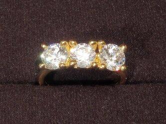 6.0‐5.5mmキュービック・ジルコニアとSV925の指輪(リング:13号、K18イエローゴールドの厚メッキ)の画像