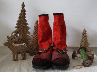 手編みの靴下 オレンジの画像