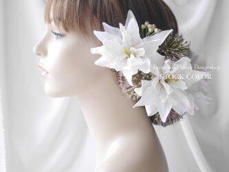 八重咲きリリィ(ユリ)とアリウムのヘッドドレス/ヘアアクセサリー*結婚式・成人式・ウェディングドレスにの画像