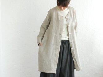 リネン ノーカラーAラインコート 羽織 (ナチュラルベージュ)の画像