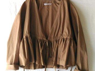 ブラウン♡綿麻ショートカシュクール♡羽織もの♪レイヤードスタイル♡着回しの画像
