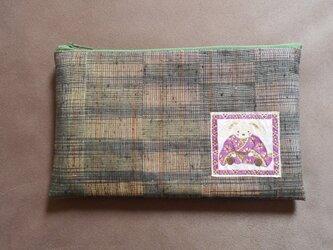 リメイク*ふっくら長方形なポーチ*渋緑織紫兎の画像